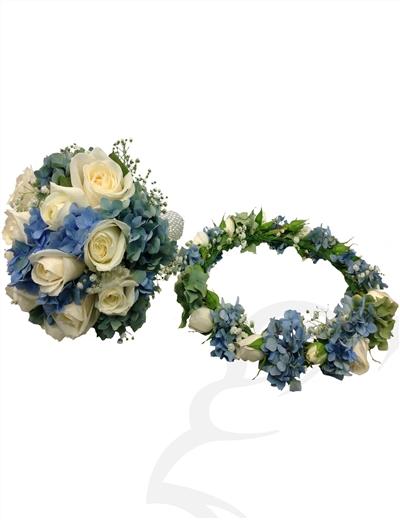 دسته گل عروس و حلقه سر عروس